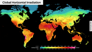 Global Horizontal Irradiation Map (in kWh per Year/Day)