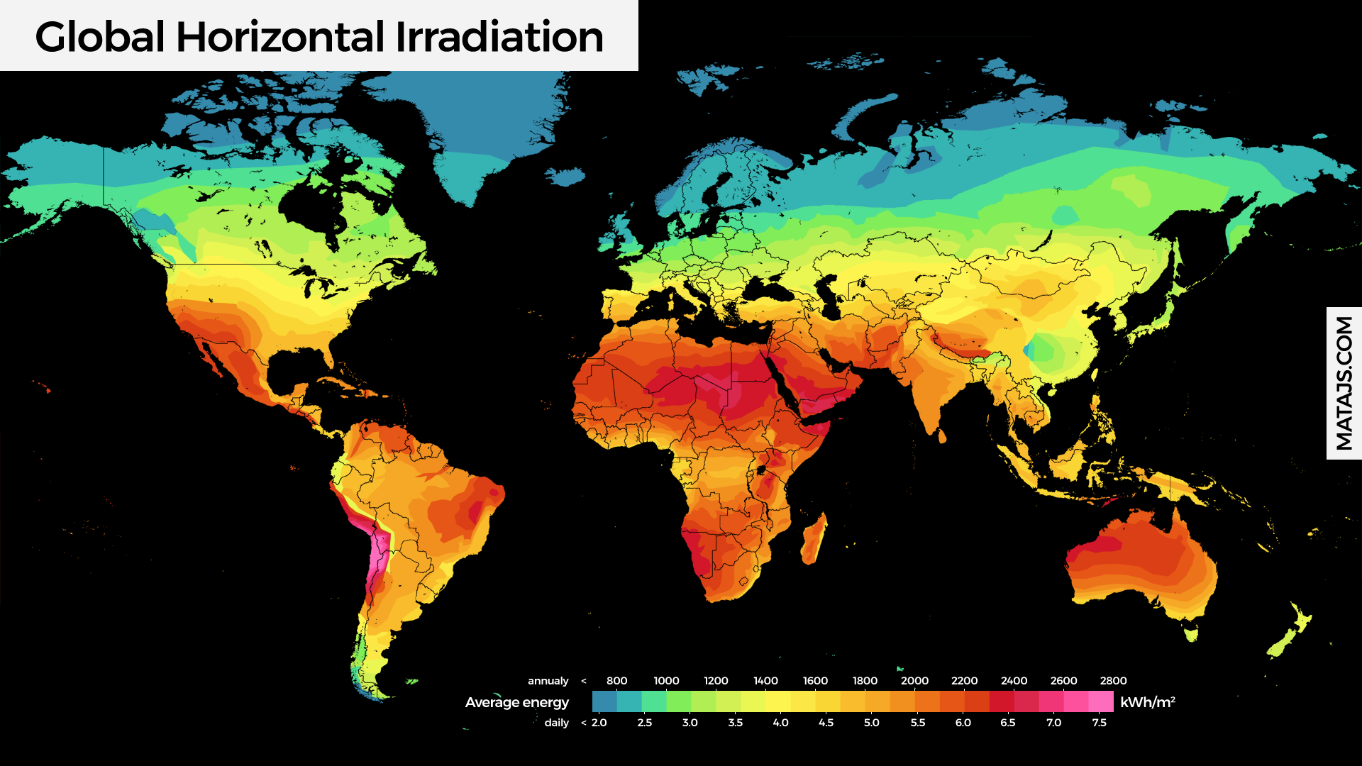 Frequently asked questions faq about solar energy matajs global horizontal irradiation map in kwh per yearday gumiabroncs Image collections